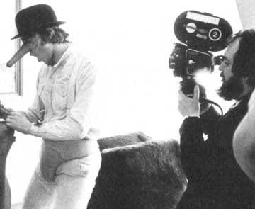 Stanley Kubrick shooting Clockwork Orange with Arriflex 35IIC